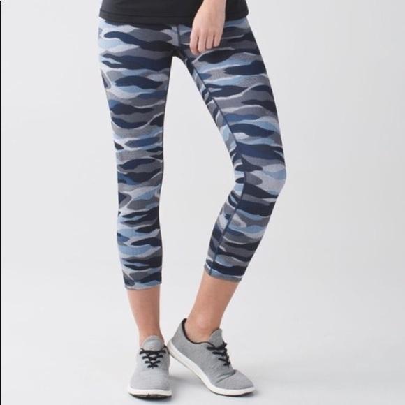 Lululemon Athletica Pants Jumpsuits Lululemon Blue Camo Leggings Poshmark